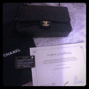 💯Auth.Chanel Lambskin Double Flap Medium Bag,EUC